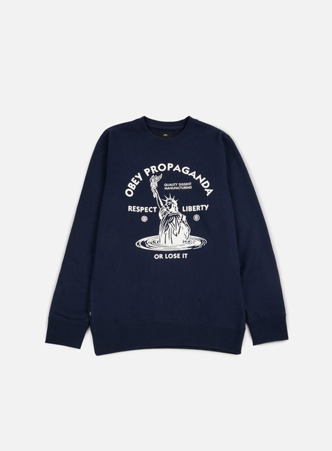 felpe obey lady liberty crewneck navy