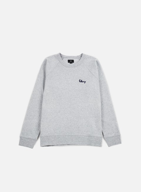 felpe obey lofty chain stitch crewneck athletic heather grey