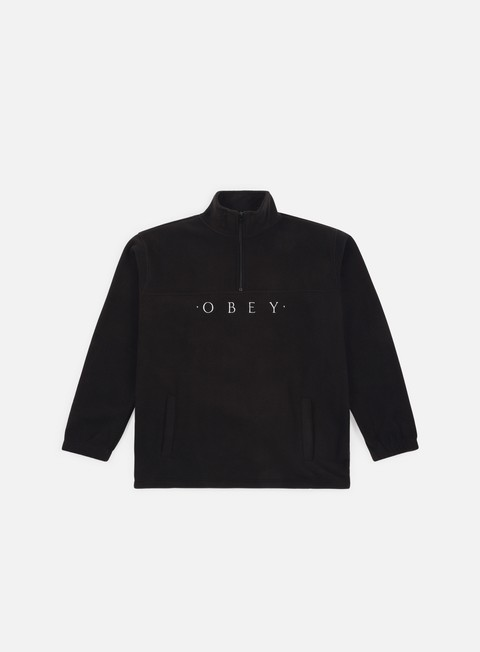 felpe obey mountain mock zip black