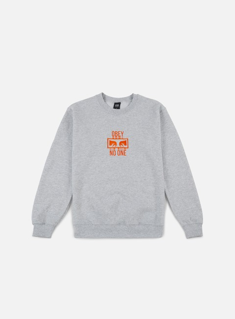 felpe obey no one crewneck ash grey