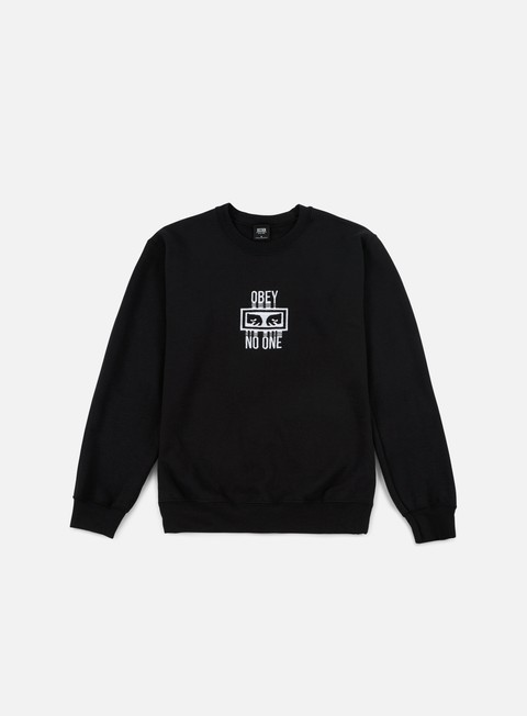 felpe obey no one crewneck black