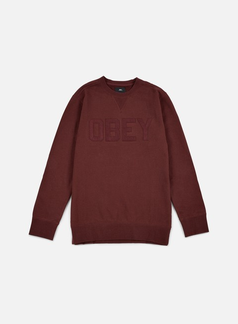 felpe obey north point crewneck ox blood