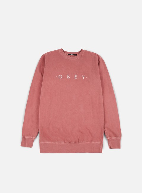 felpe obey novel obey pigment crewneck dusty dark rose