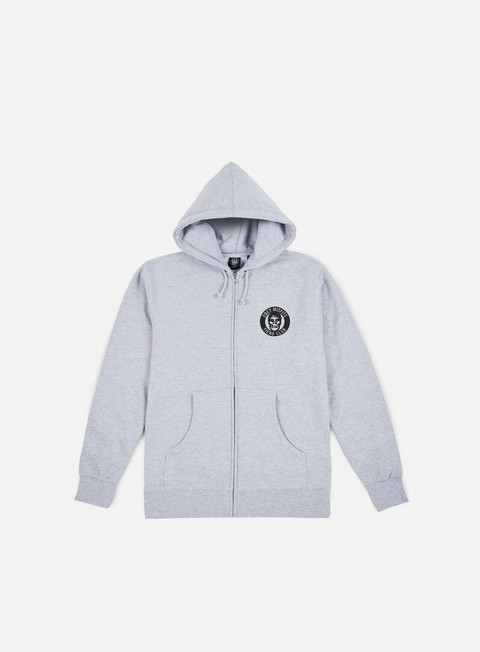 felpe obey obey misfits fiend club zip hoodie heather grey