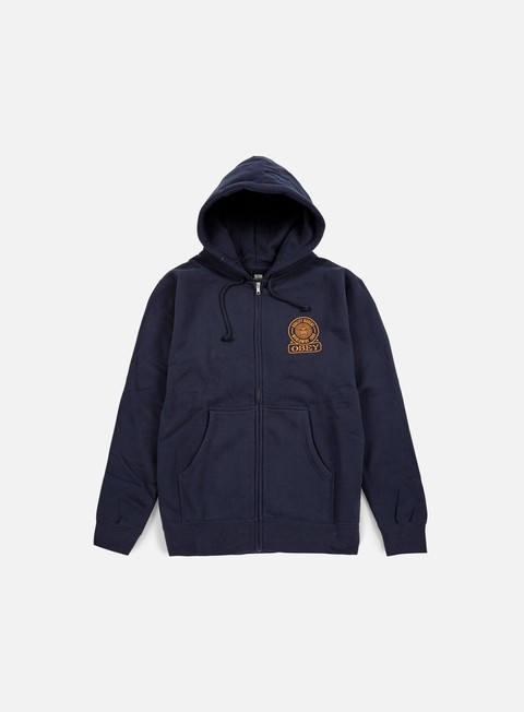 felpe obey obey quality dissent zip hoodie navy