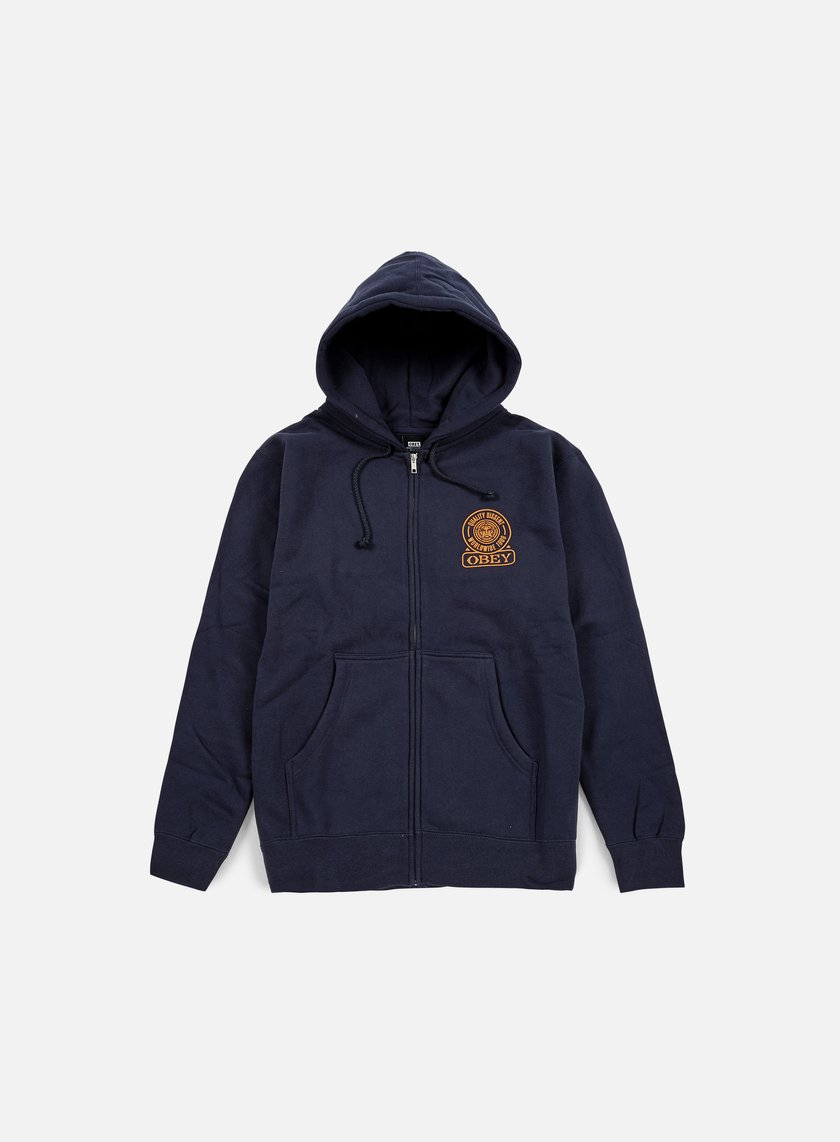 Obey - Obey Quality Dissent Zip Hoodie, Navy