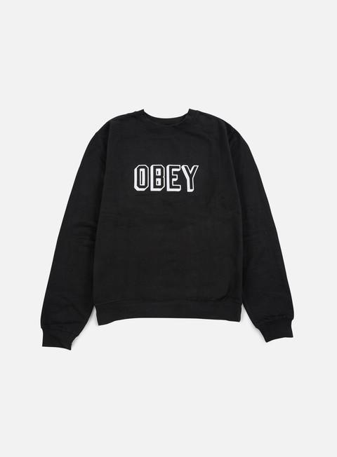 felpe obey obey varsity crewneck black