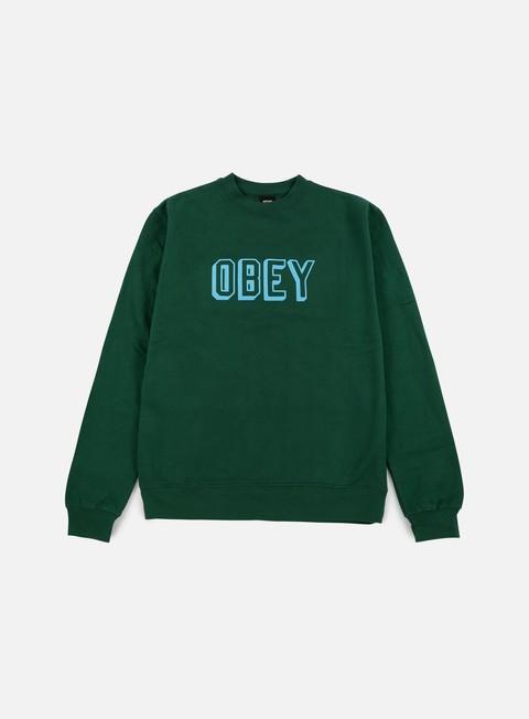 felpe obey obey varsity crewneck green