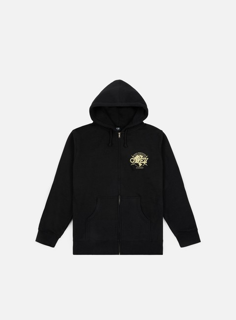 felpe obey obey world domination globe zip hoodie black