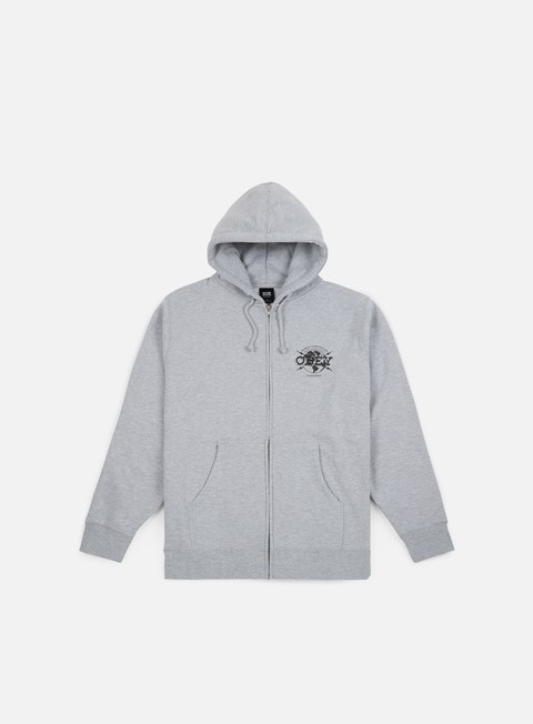 felpe obey obey world domination globe zip hoodie heather grey