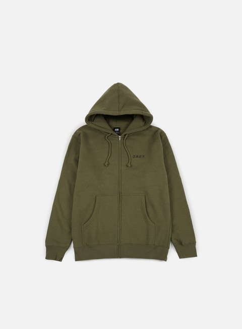 felpe obey obey zip hooded fleece army