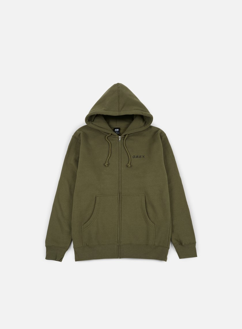 Obey - O.B.E.Y. Zip Hooded Fleece, Army