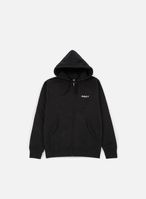 felpe obey obey zip hooded fleece black