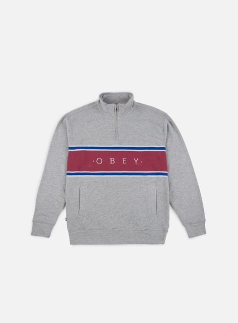 felpe obey palisade mock neck zip heather grey