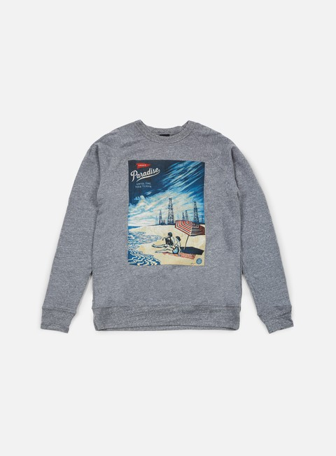 felpe obey paradise turns crewneck heather grey