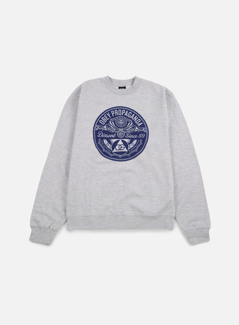 felpe obey pyramid of dissent crewneck heather grey