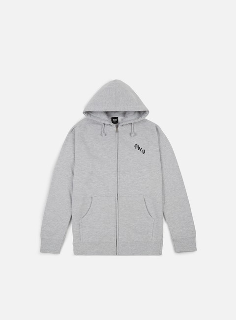 felpe obey reaper s delight zip hoodie heather grey