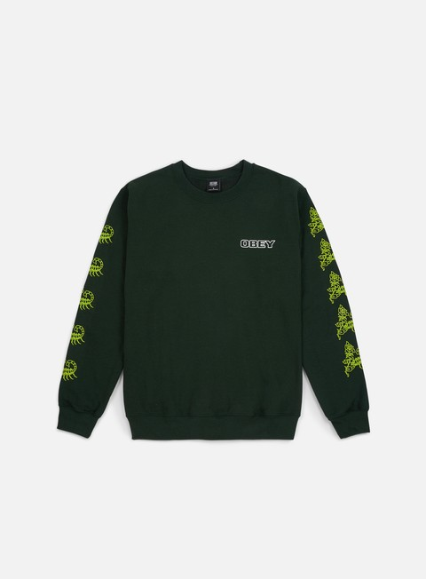 felpe obey scorpion rose crewneck forest green