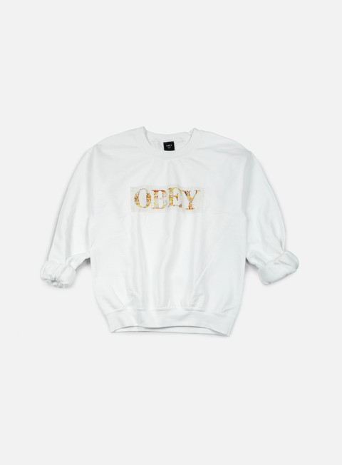 felpe obey wmns color theory logo crewneck white