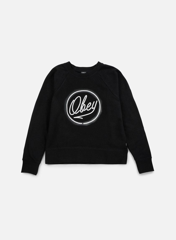 Obey - WMNS Neon L'Espirit De La Liberte Crewneck, Black