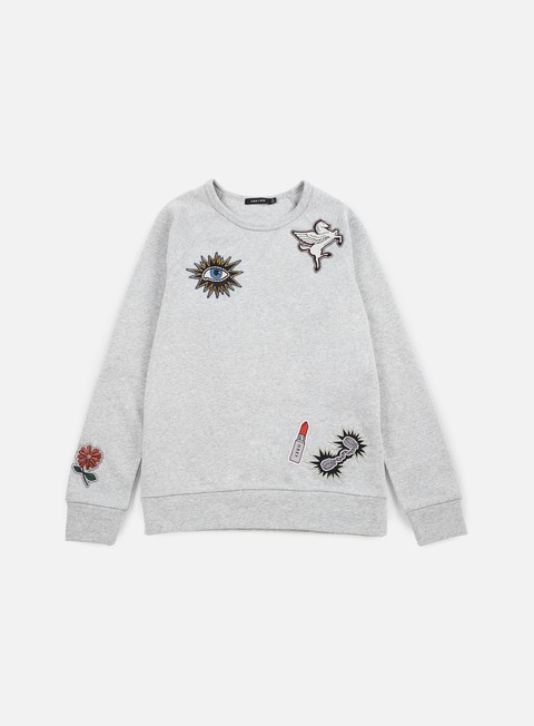 felpe obey wmns patched comfy creatures crewneck heather grey