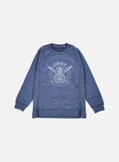 Obey - WMNS Peace & Justice Eagle Crewneck, Heather Navy 1