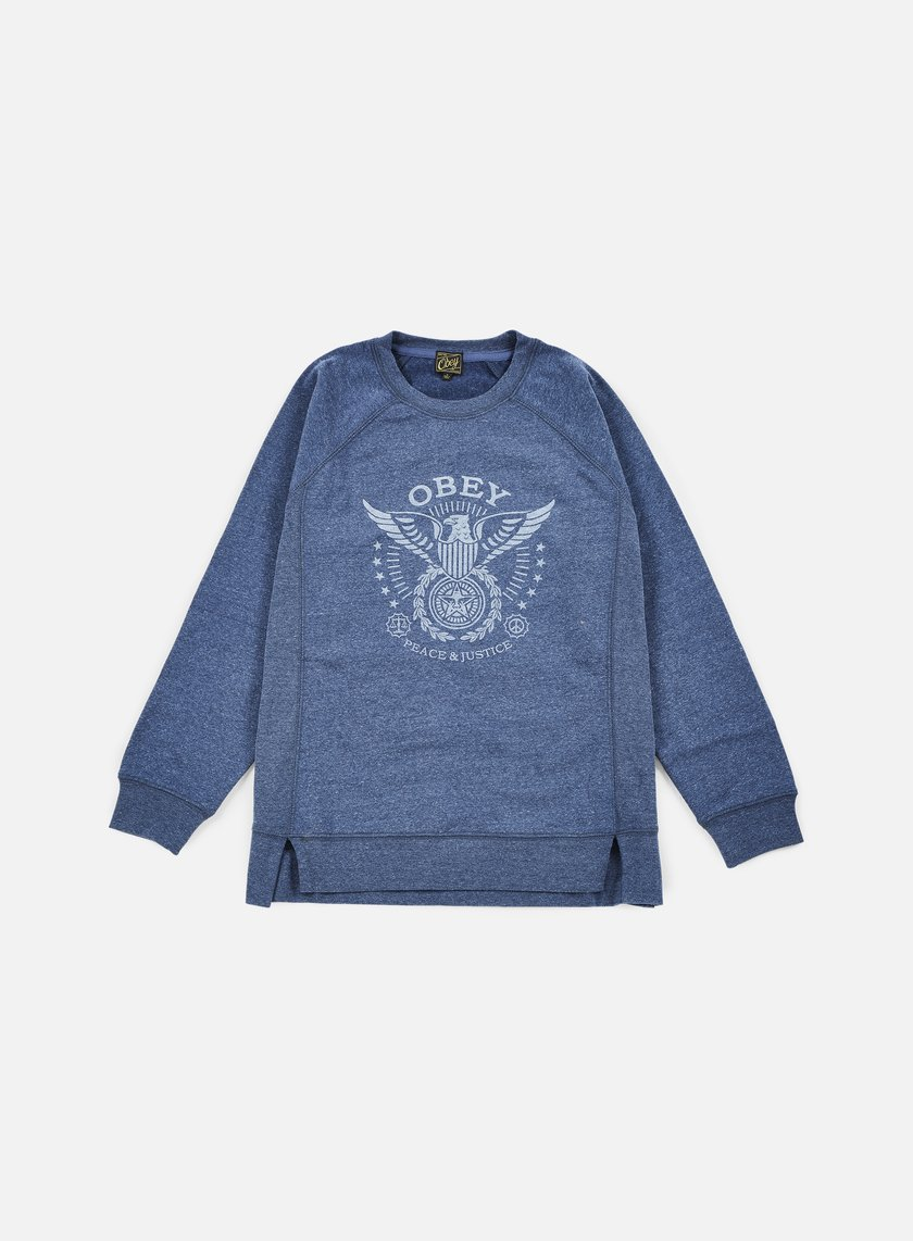 Obey - WMNS Peace & Justice Eagle Crewneck, Heather Navy