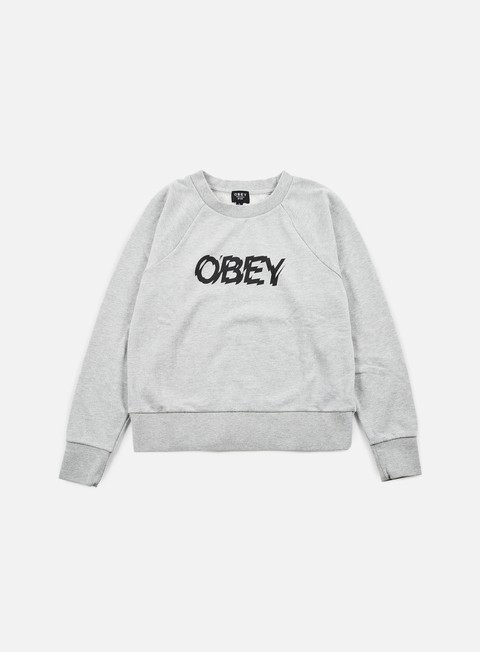 felpe obey wmns static age crewneck heather grey