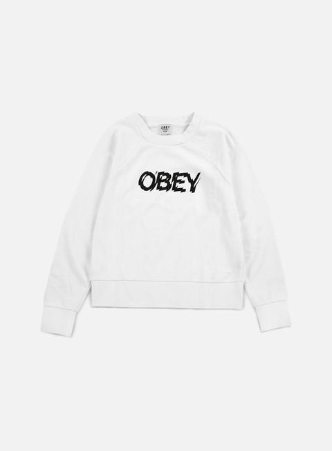 felpe obey wmns static age crewneck white