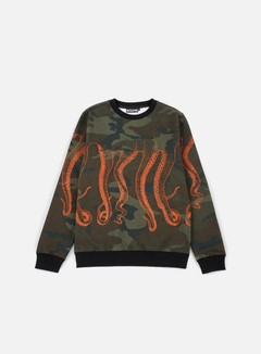 Octopus - Octopus Crewneck, Camo/Orange Out