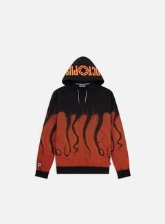 Octopus - Octopus Hoodie, Black/Orange Stripes