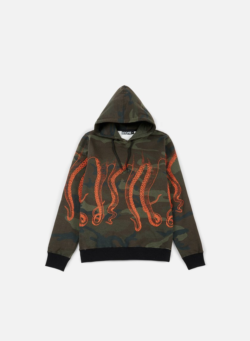 Octopus - Octopus Hoodie, Camo/Orange Out