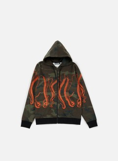 Octopus - Octopus Zip Hoodie, Camo/Orange Out