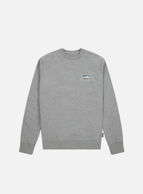 felpe patagonia shop sticker patch uprisal crewneck gravel heather