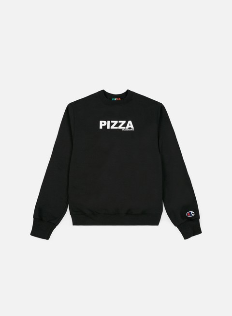 felpe pizza skateboards logo champion crewneck black