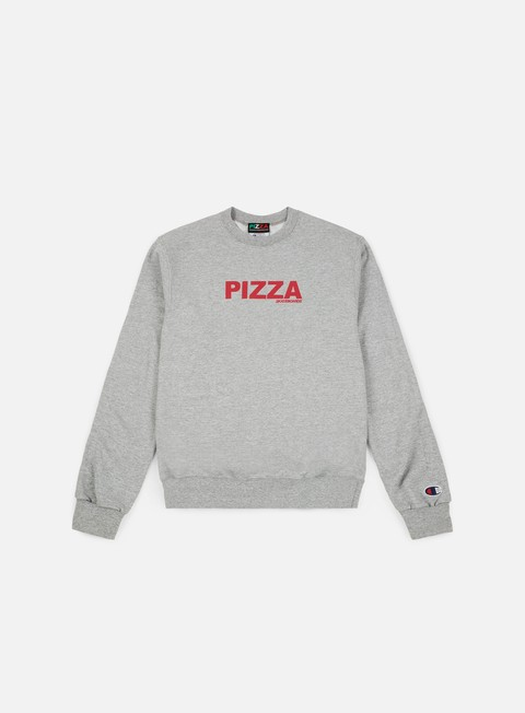 felpe pizza skateboards logo champion crewneck grey