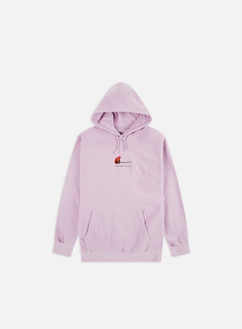 Outlet e Saldi Felpe con Cappuccio Primitive Heartbreakers Club Burning Pigment Dyed Hoodie
