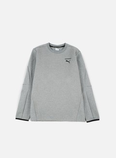 Puma - Evo Core Crewneck, Medium Grey Heather/Puma Black 1