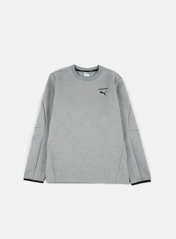 Puma - Evo Core Crewneck, Medium Grey Heather/Puma Black