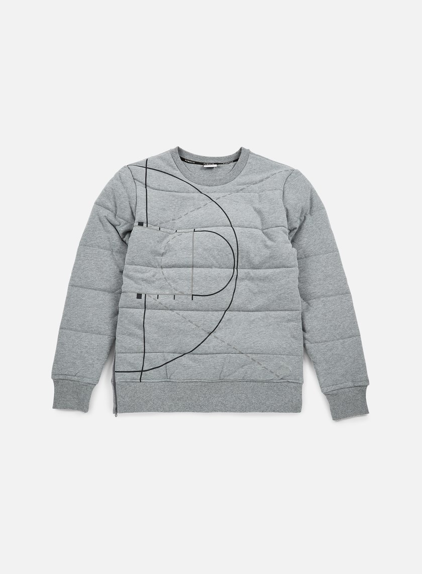 Puma - Evo Graphic Padded Crewneck, Medium Grey Heather