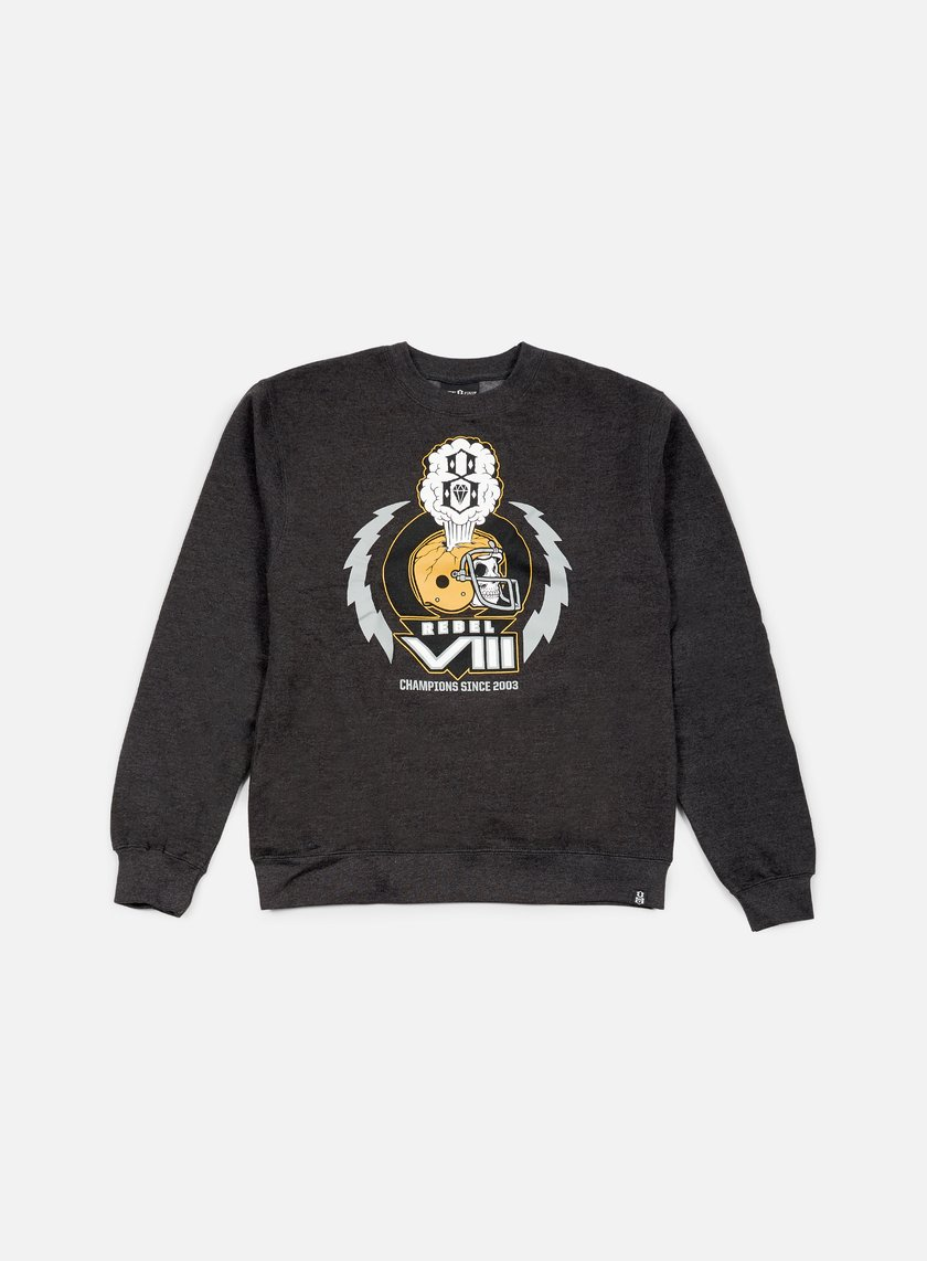 Rebel 8 - Grid Iron Crewneck, Charcoal Heather
