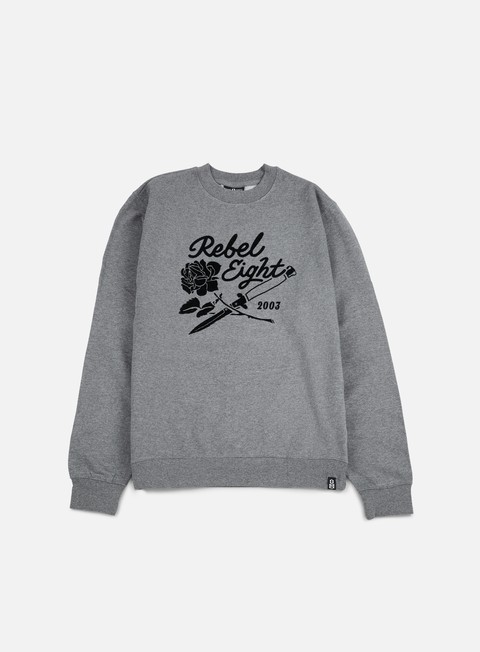 felpe rebel 8 rose and daggers crewneck gunmetal heather