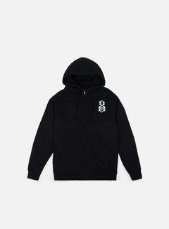 Rebel 8 - Standard Issue Logo Zip Hoodie, Black 1