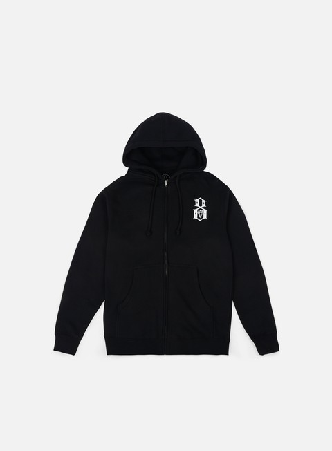 felpe rebel 8 standard issue logo zip hoodie black