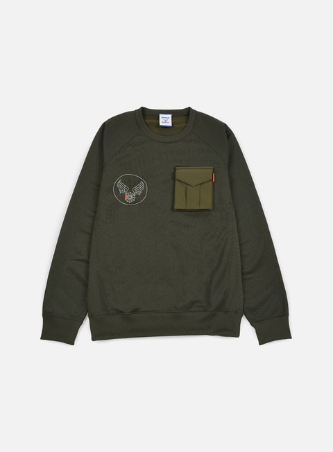 felpe reebok beams crewneck sweatshirt pop green