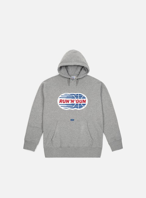 felpe run n gun embroidery logo hoodie grey melange