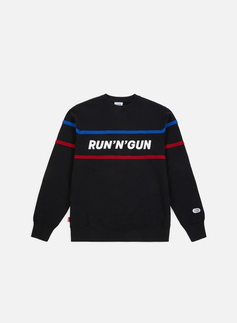 felpe run n gun horizontal stripe crewneck black