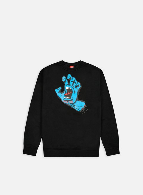felpe santa cruz screaming hand crewneck black