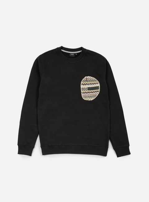 felpe southfresh zigzag zip pocket crewneck black beige