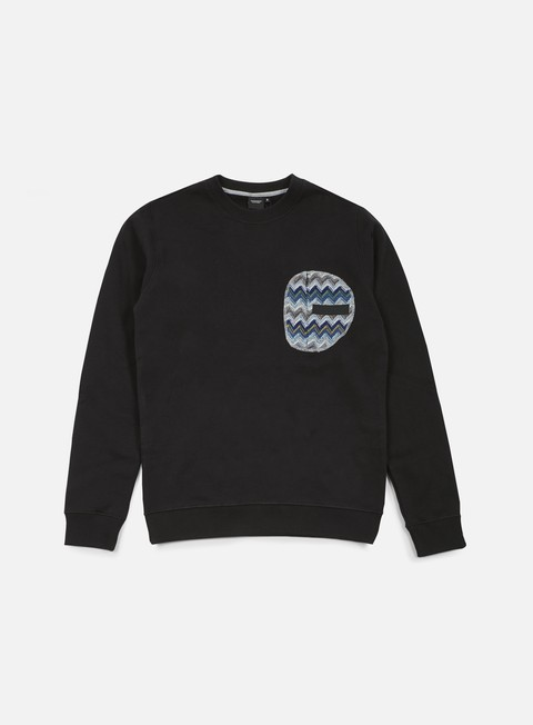 felpe southfresh zigzag zip pocket crewneck black blue